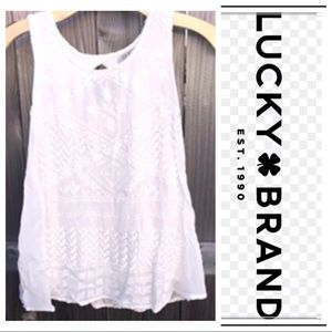 Lucky Brand lacy lined eggshell white top | tank